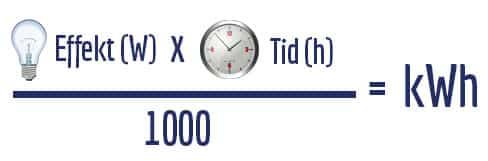 (effekt (W) x tid (h)) / 1000 = kWh